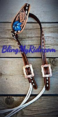 Hand tooled, painted and buckstitched draw gag headstall.