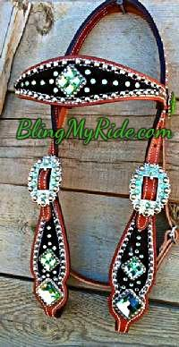 Black croc. bling browband headstall with Peridot (green) Swarovskis and sliver spots.