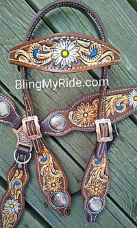 Hand tooled and painted daisey tack set.