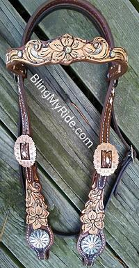 Hand tooled floral and scroll cutout browband headstall. w/ upgraded conchos.