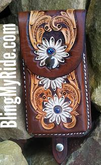 Hand tooled cell phone holder. saddle mount.
