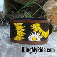 Sunflower and Daisies hand tooled and painted cuff bracelet.