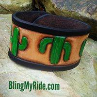 Hand tooled and painted cactus cuff bracelet