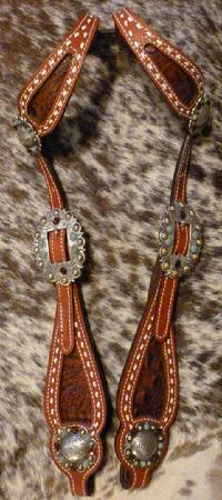 Bling buck-stitched double ear headstall.