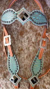 Antique Turquoise croc. browband bling headstall w/ Jet Swarovskis.