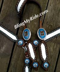Dark oil, white croc inlay, single ear headstall tack set with Indian Chief head hand painted conchos and buckles. Turquoise. Any other color available.