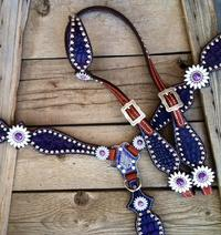 Deep purple croc. bling tack set with purple daisy conchos.