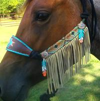 Feathers n fringe hand tooled and painted bronc style halter on rope halter with fringe!