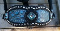 Turquoise croc. inlay bling bronc halter.