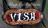 Hand tooled and customized bronc noseband.