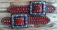 Antique red croc. belt style spur straps w/ barb wire buckles, clear crystals and sleeping beauty turq.