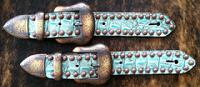 Belt style spur straps in Antique turquoise w/ bronze three piece buckles.
