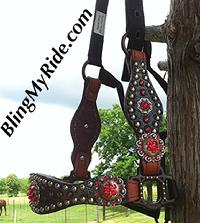 Black overlay, bling croc., bronc halter with matching cheeks and lt. Siam Swarovski crystals.