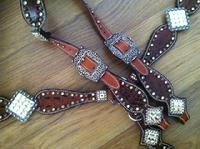 Rust brown croc. bling tack set with LOADS od Swarovskis and single ear headstall.