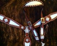 Buckstitched bling tack set with browband headstall.