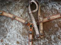 "Bling tack set with belt style headstall and 1.5"" regular style Breast Collar."