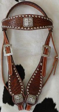 Bling headstall. Rust brown croc. overlay w/ Antique silver  cross hardware.