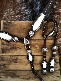 Buckstitched bling tack set.
