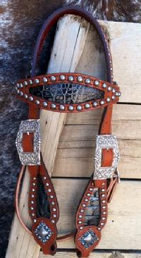 Black/silver metallic croc inlay browband bling headstall.