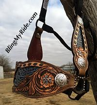 Hand tooled sheridan tooled full cheek halter.