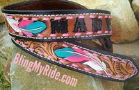hand tooled and painted feather belt. Western tooling.