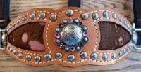 bling bronc halter. Herman Oak, Pink Acid wash hair on inlays, Antique silver hardware, Fancy spots, and rose and Smoke topaz Swarovskis.