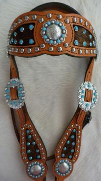 Inlay style browband bling headstall.Herman Oak chestnut oil leather, Dark Brindle hair-on inlay, Turquoise Swarovskis, Fancy Antique Silver spots and antique silver berry hardware.
