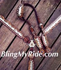 Cut-out and buckstitch bling tack set. With bone croc/metallic croc. inlays.