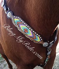 Hand tooled, beaded and buckstitched breastcollar with rose hardware in Antique silver.