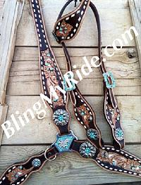 Hand tooled, painted and buckstitched bling tack set.