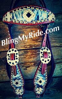 Bling hair on hide browband headstall with Swarovski crystals.