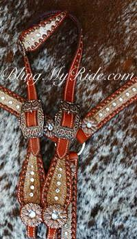 Bling single ear tack set with bronze daisy conchos and clear crystal Swarovskis.