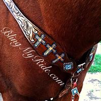 Hand tooled cross breastcollar with turquoise accents and stones.