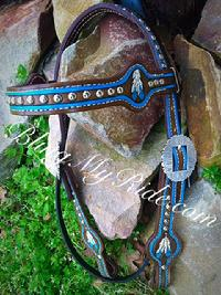 Hand tooled and painted browband headstall.