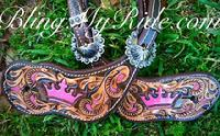 Hand tooled and painted spur straps fit for a queen!