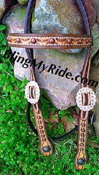 Hand stamped working browband headstall with copper spots and hardware. Light and dark oil finish.