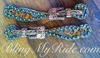 Copper floral overlay small style spur straps with Sleeping Beauty turquoise.