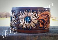 Hand tooled and painted daisy cuff bracelet.
