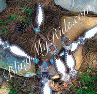 White overlay bling tack set with Golden shadow Swarovskis and turquoise accents.