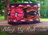 Hand tooled and painted leather cuff bracelet.