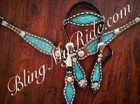 Buckstitched tack set with antique turquoise croc inlays.