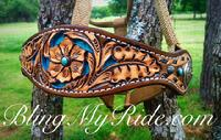 Hand tooled, buckstitched and inlaid bronc halter.
