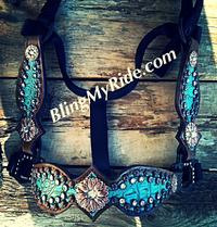 Antique turquoise full cheek bling halter with loads of Crystal Swarovskis.