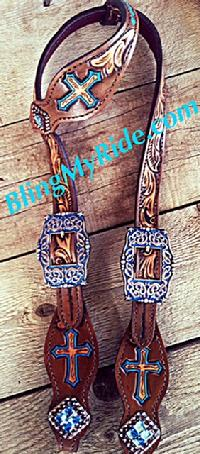 Hand tooled three cross headstall, single ear with turquoise accents.