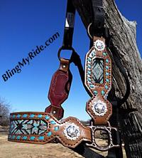 Beaded full cheek halter with turquoise buckstitch.