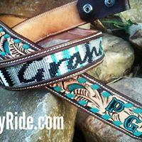 Hand tooled, painted, beaded and buckstitched western belt