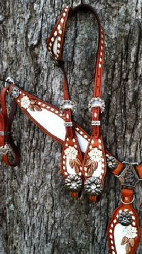 Hand tooled and buckstitched tack set.