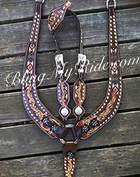 Custom beaded and hand tooled tack set with pulling style collar.