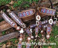 Custom beaded, hand stamped tack set.