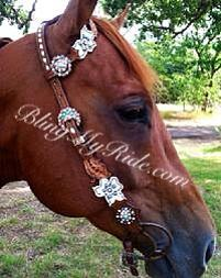 Hand tooled floral cut-out bling headstall.